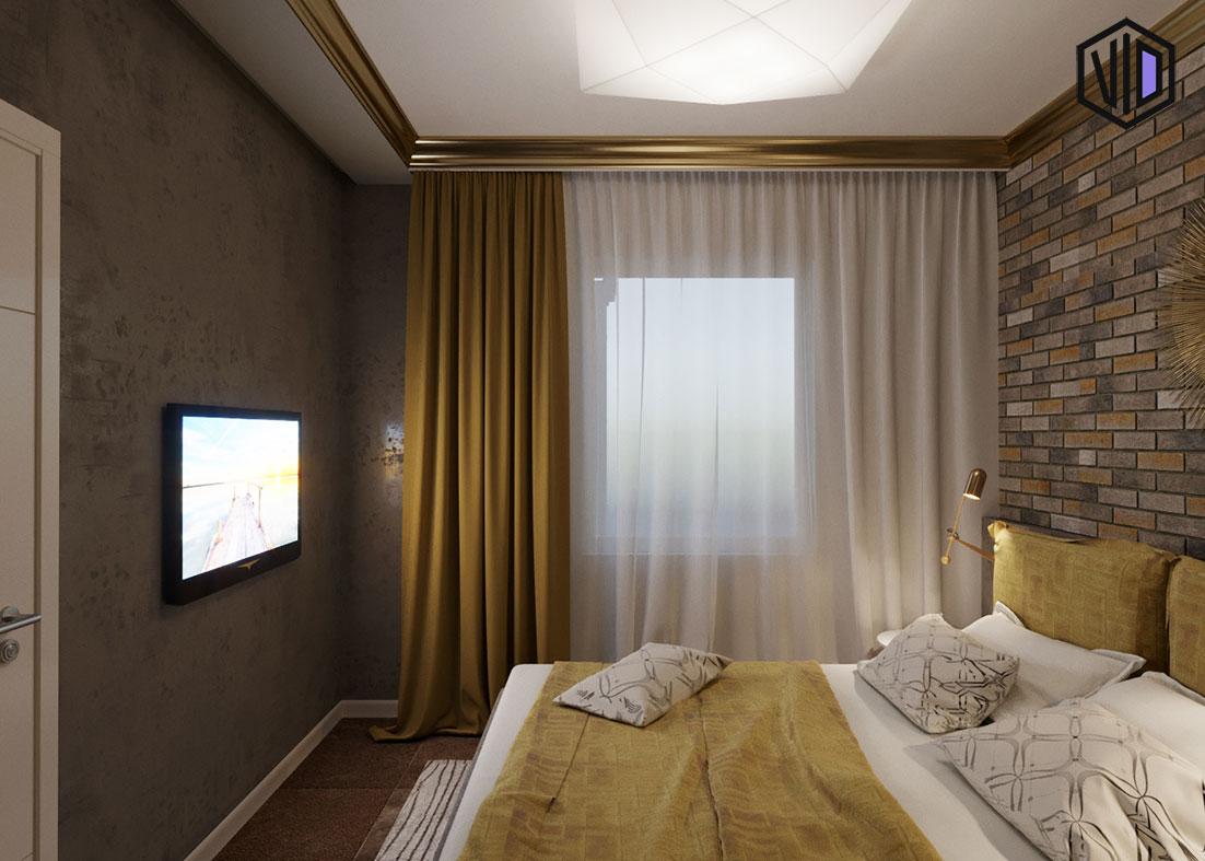 золотые карнизы в интерьере спальни