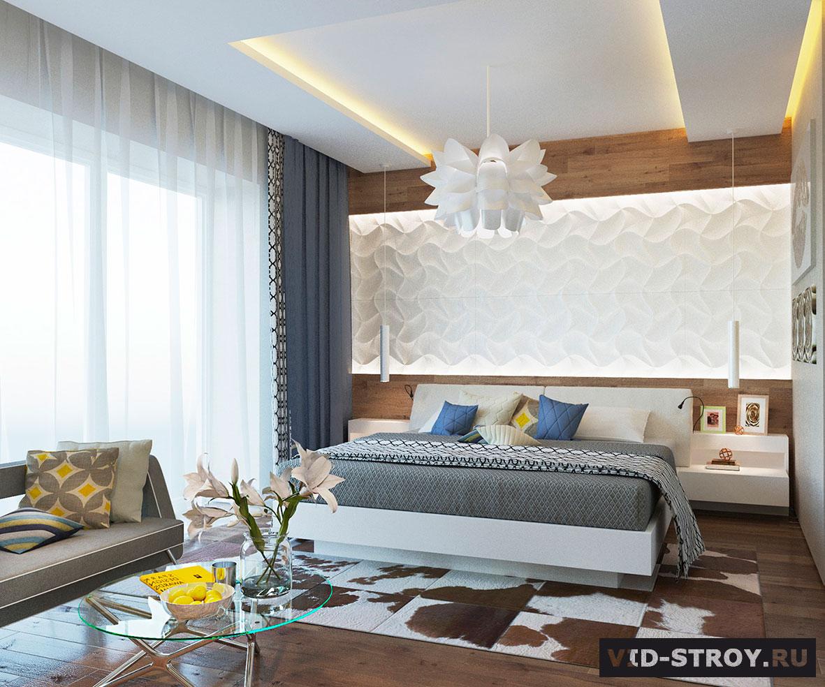 дизайн спальни с 3d панелями на стене