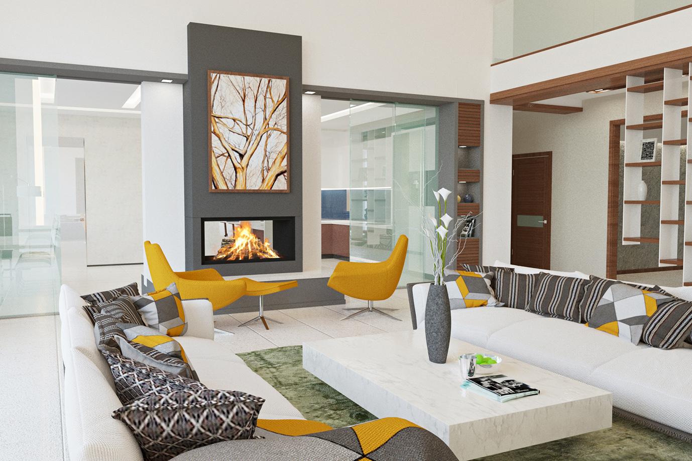 Дизайн современного гостиной комнаты дома внутри