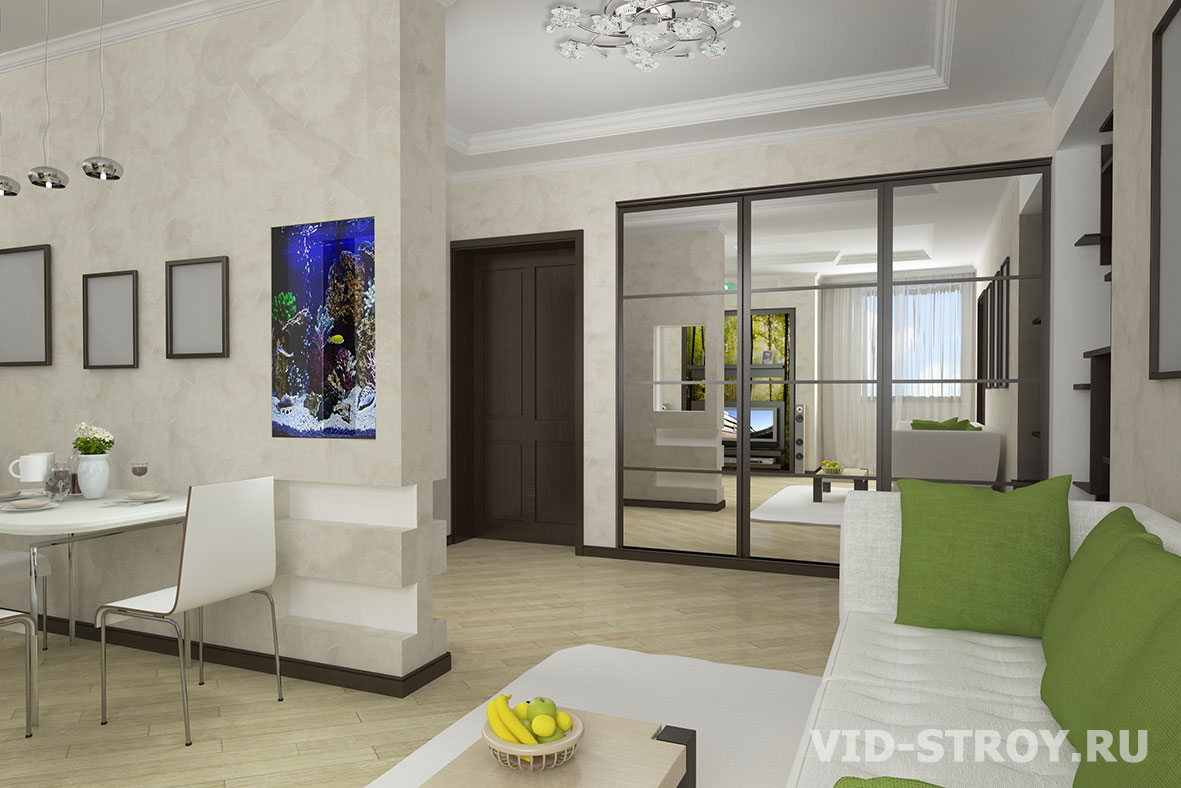 Интерьер с совмещенной кухней и залом