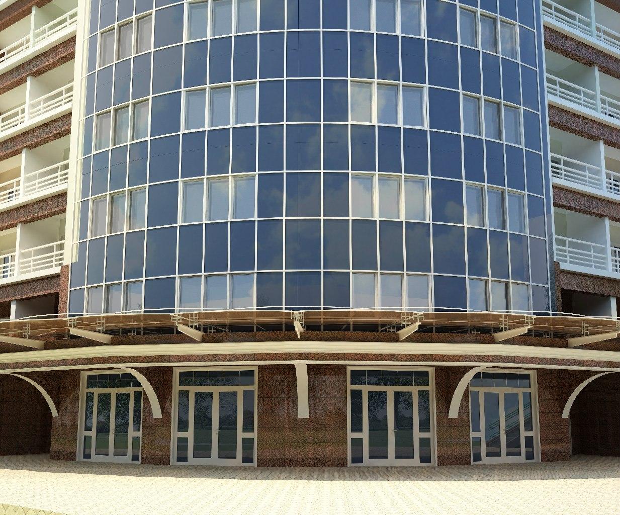 Дизайн фасада современного многоэтажки