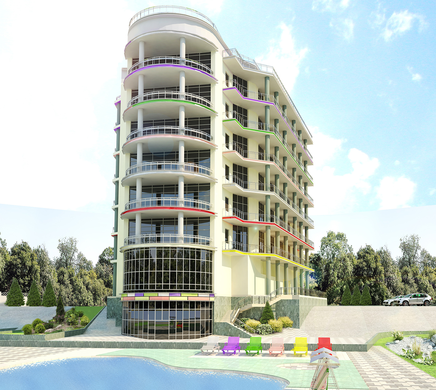 Дизайн фасада современного многоэтажного дома