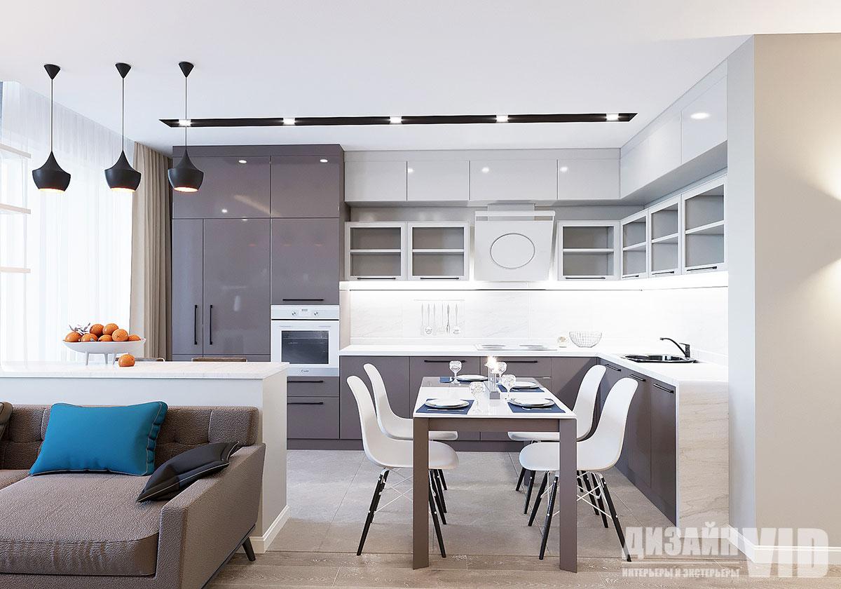 современная интерьер кухни-столовой
