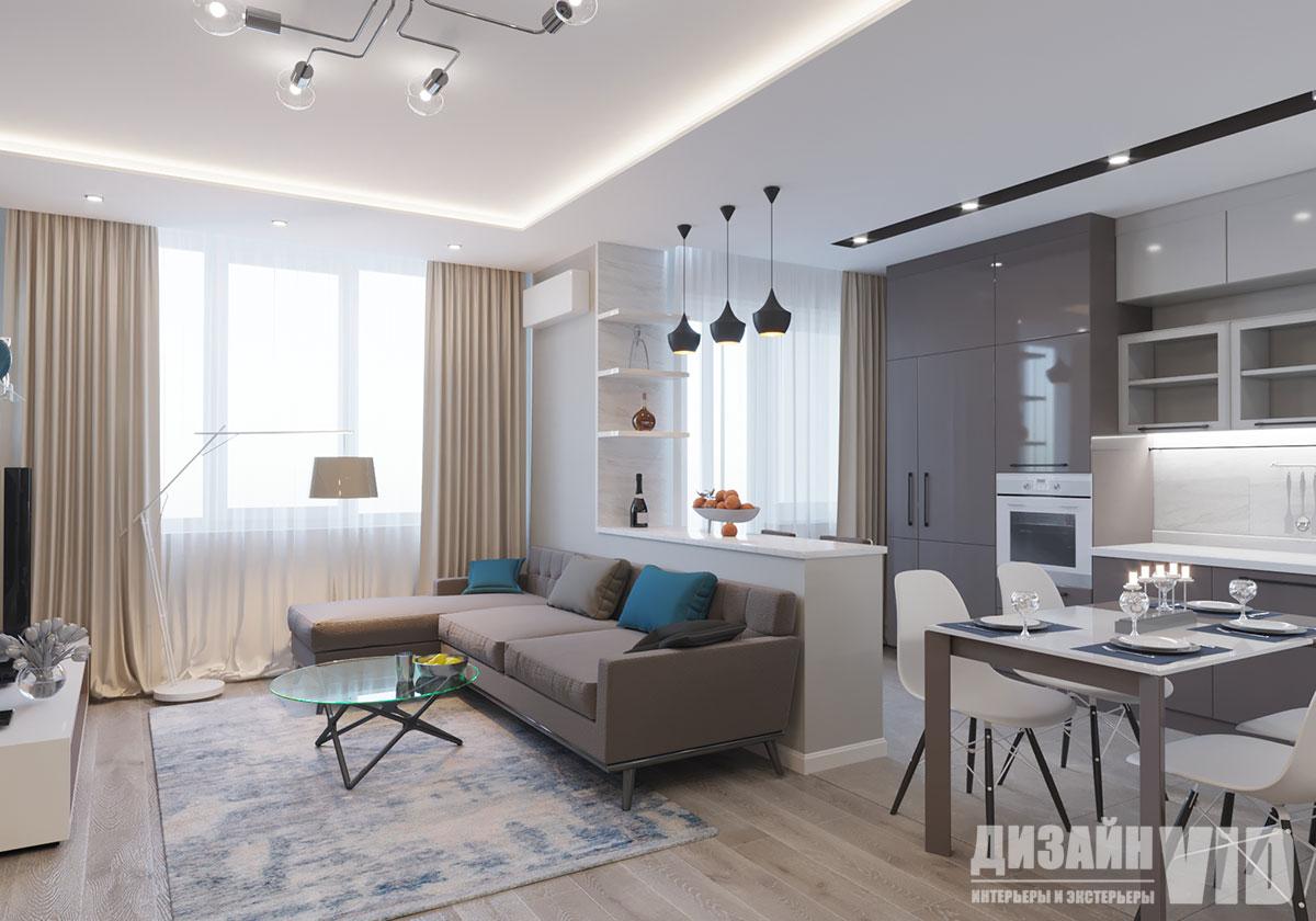совмещенный зал с кухней в квартире