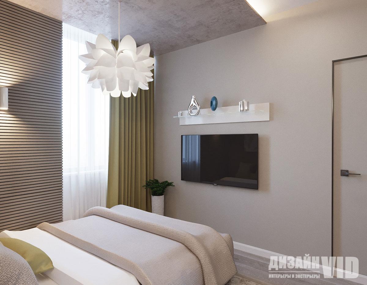 рейки на стене в современной спальне