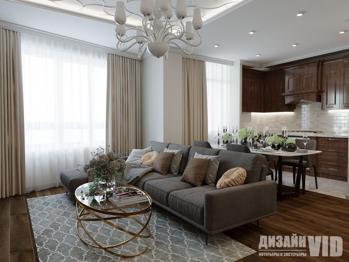 Дизайн классической гостиной совмещенной с кухней
