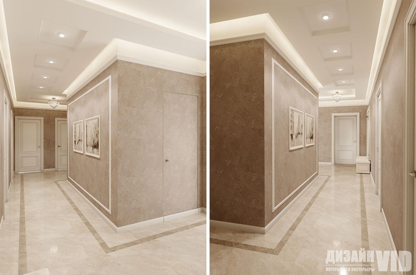 дизайн холла в классическом стиле