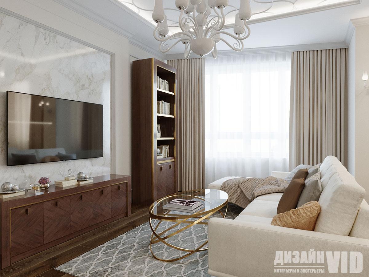 книжная зона в интерьере гостиной