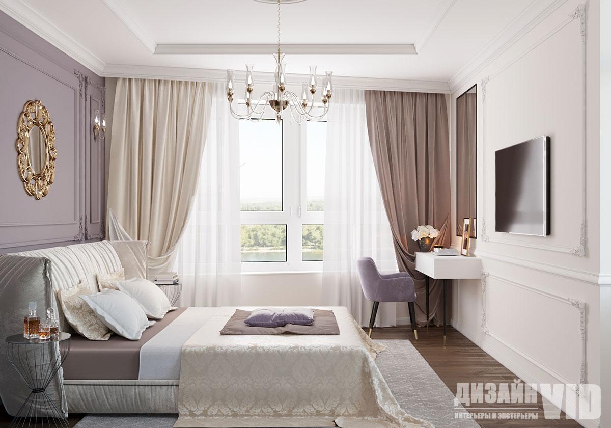классическая спальня в нежных цветах