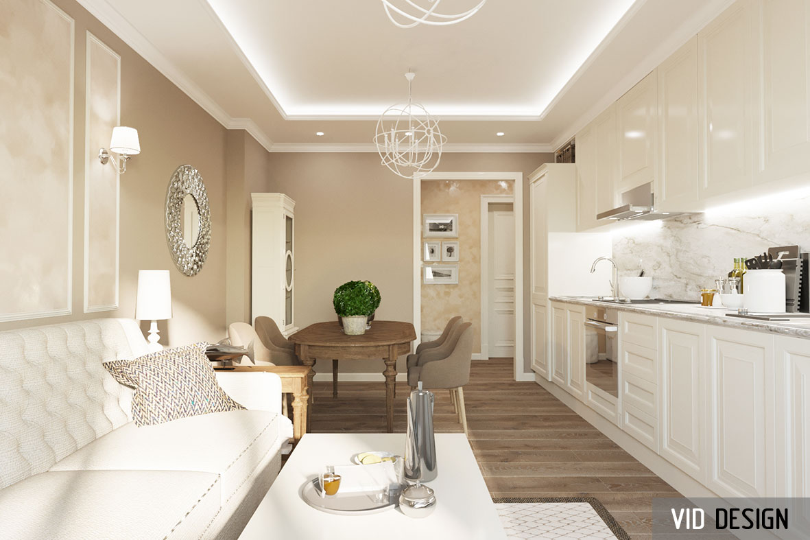 интерьер гостиной в пастельных цветах