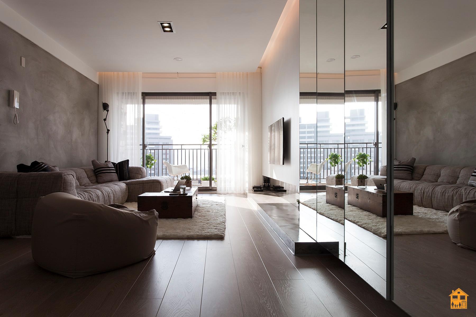 интерьер зала в минимализме фото