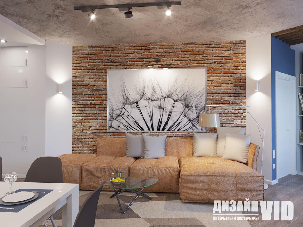 Дизайн гостиной вид на диван