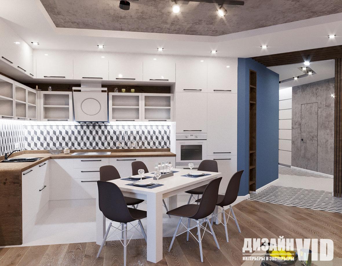 современная белая угловая кухня