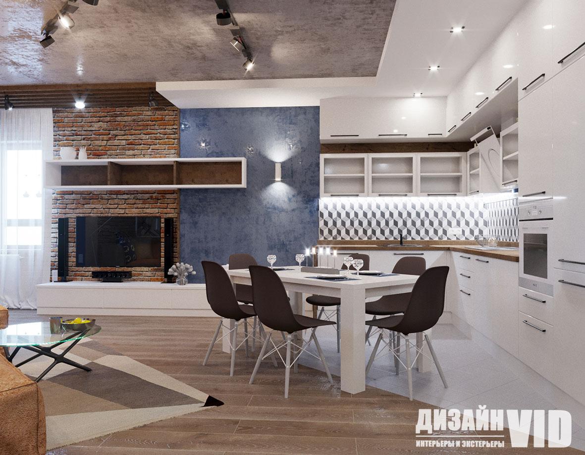 яркое цветовое сочетание в зоне кухни