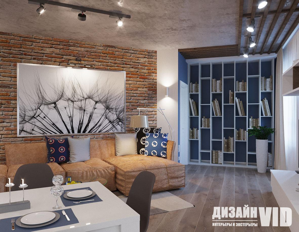 книжная зона в интерьере квартиры