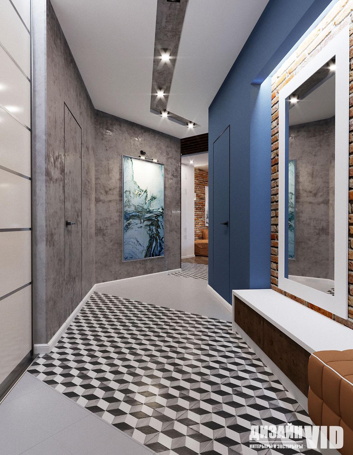 Современный коридор и смелые цветовые сочетания