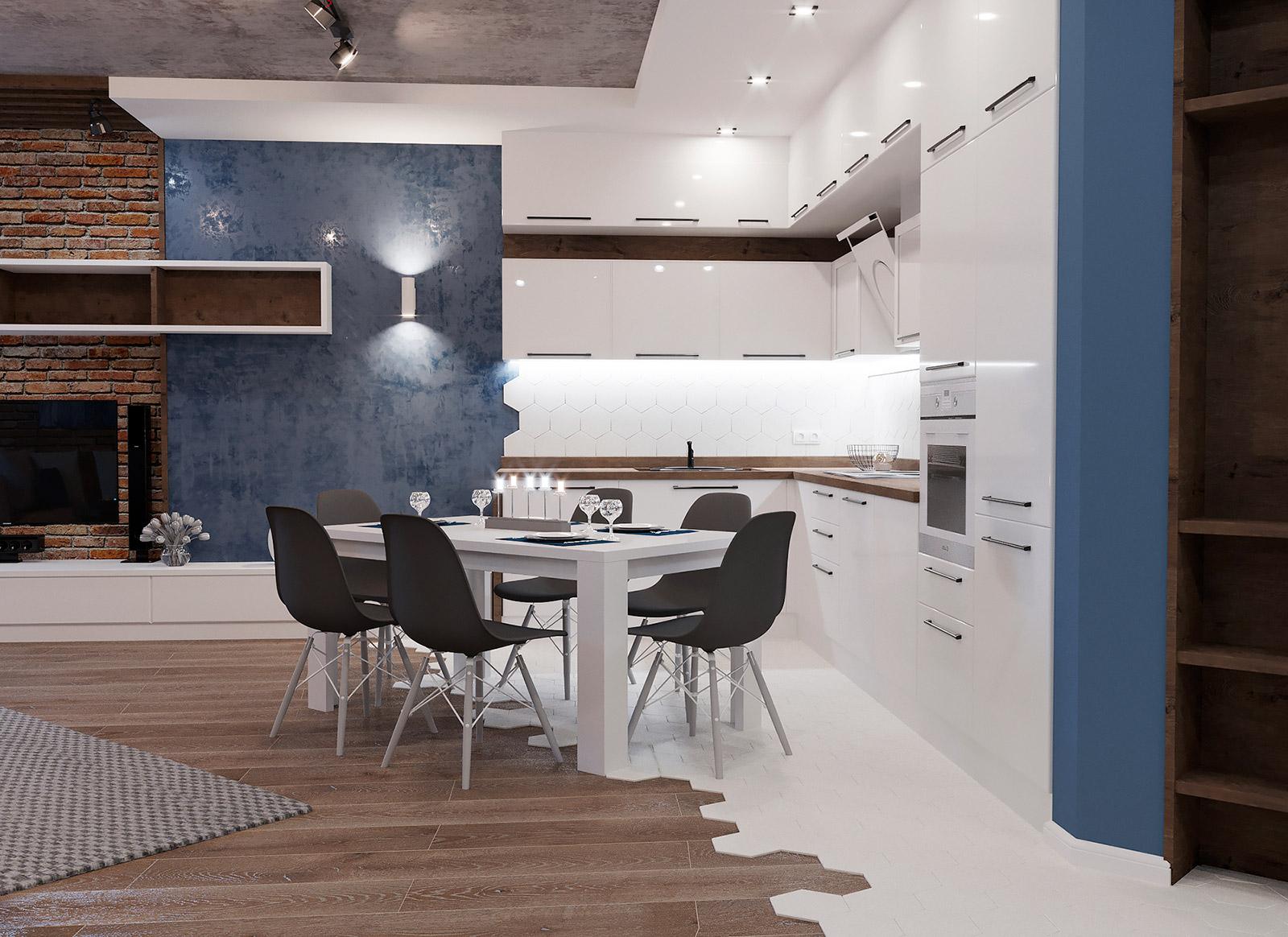 Дизайн кухни-гостиной в современном стиле