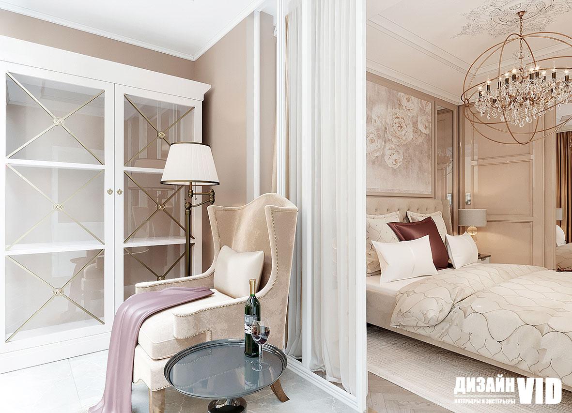 Мягкая мебель в классическом интерьере спальни