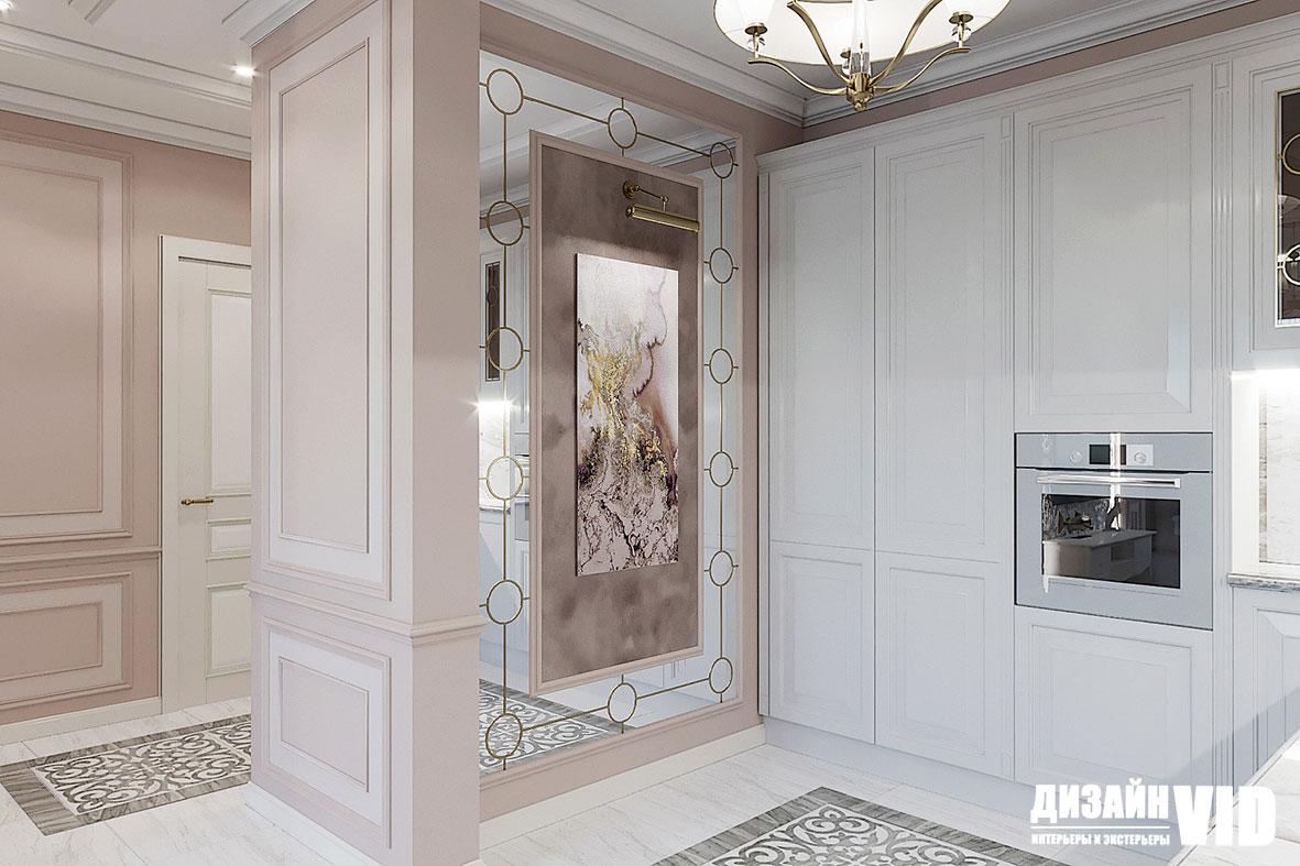 Зеркальное панно на стене в кухне