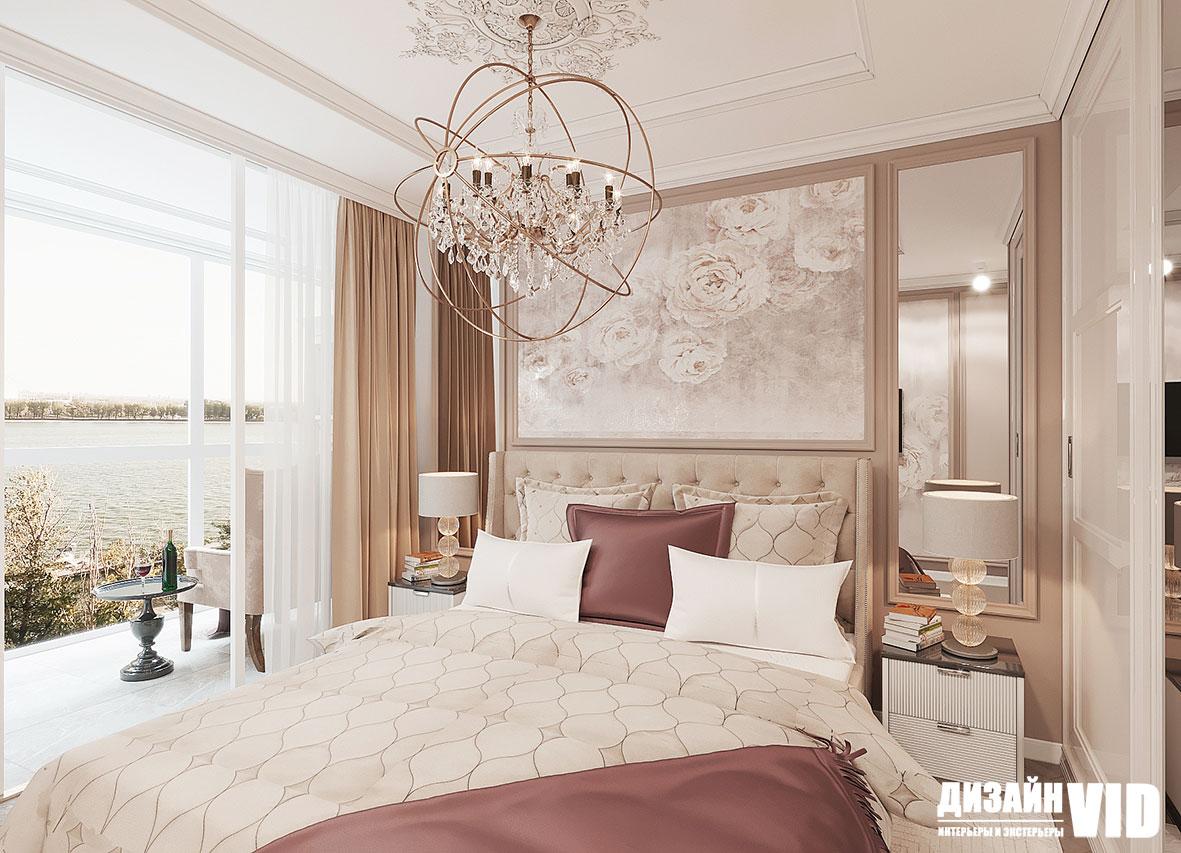 спальня в классическом стиле с панно на стене