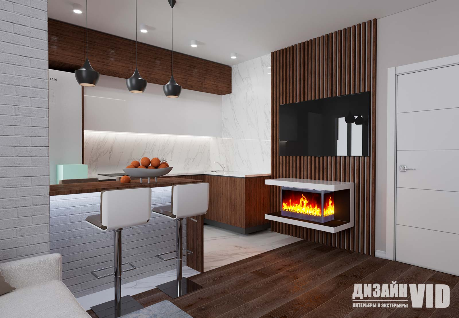 белая кухня в современном интерьере