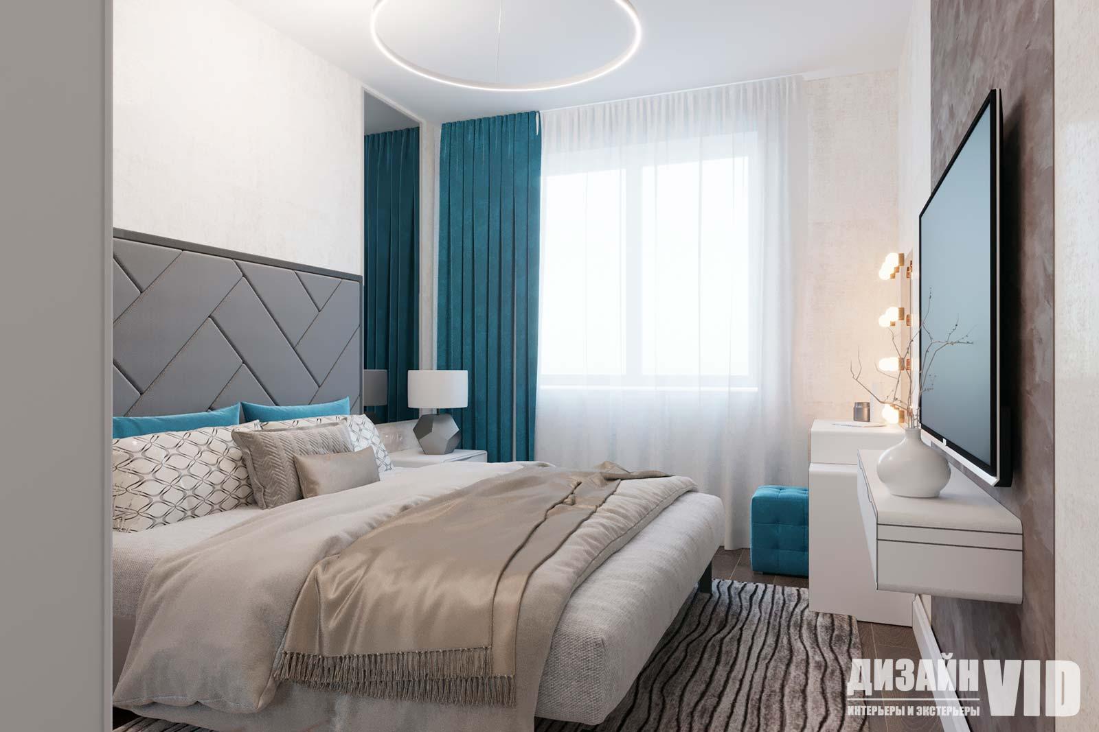 светлая спальня в стиле минимализм