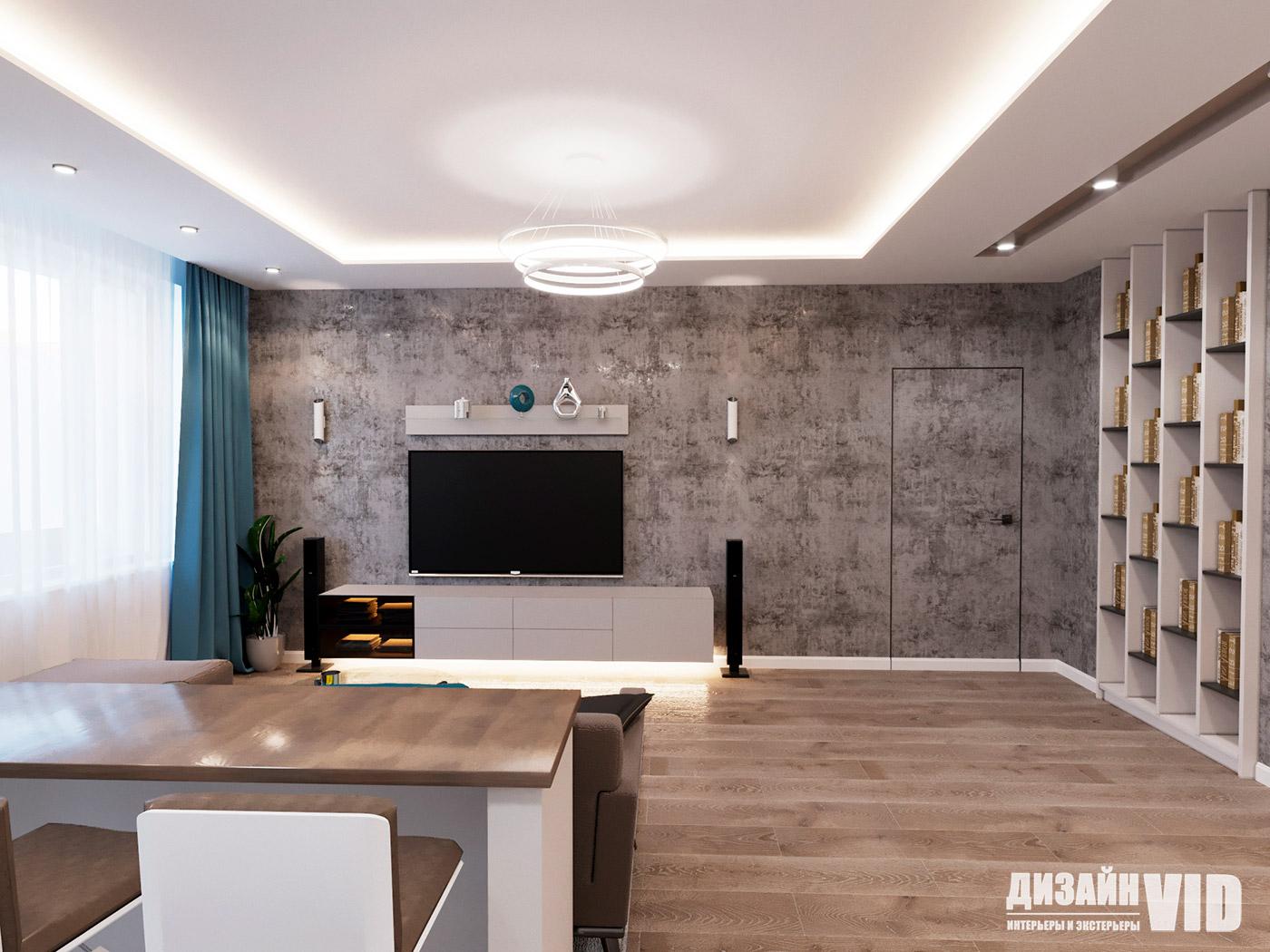 стена под телевизор оформлена декоративной штукатуркой