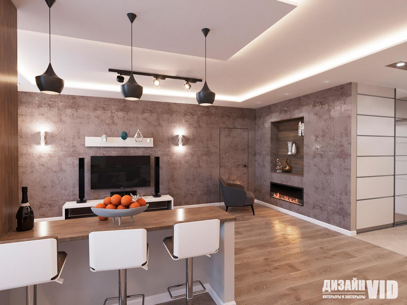 барная стойка в дизайне квартиры студии