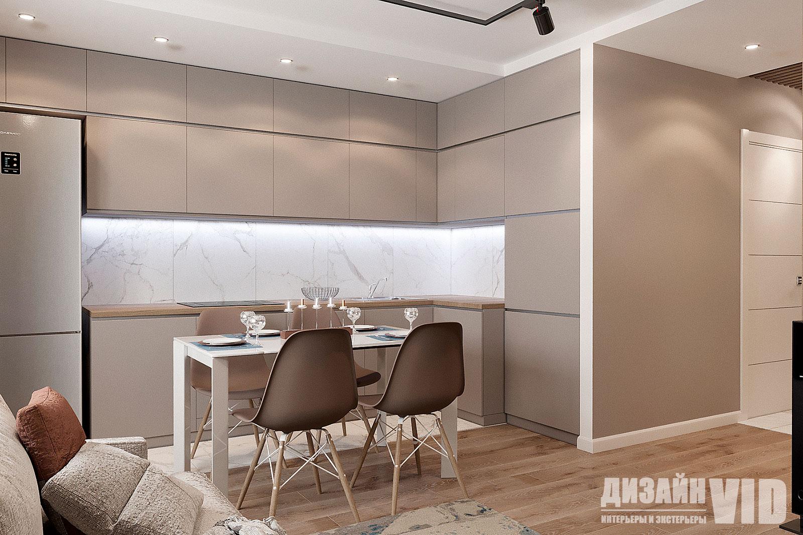 дизайн современной кухни до потолка