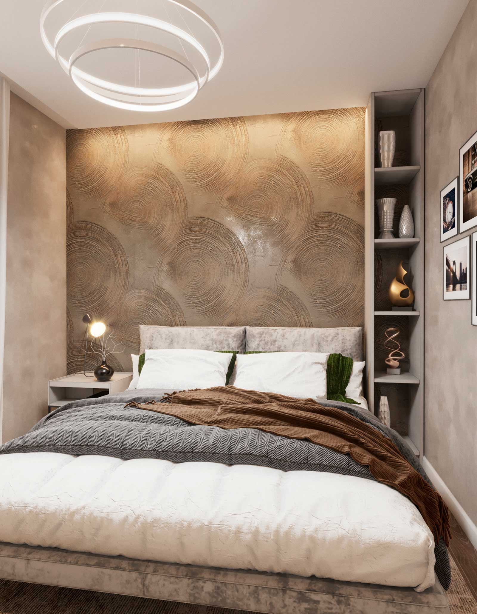 декоративная штукатурка за кроватью