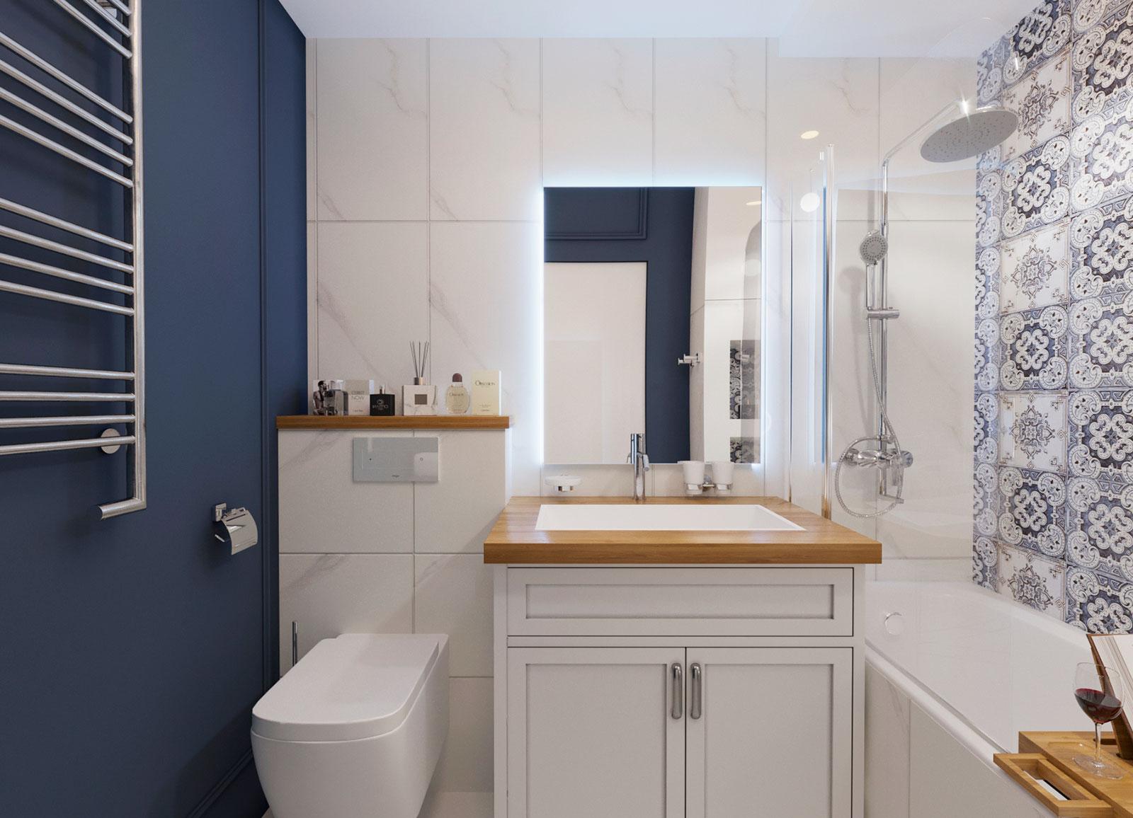 дизайн ванной мрамор и синяя покраска