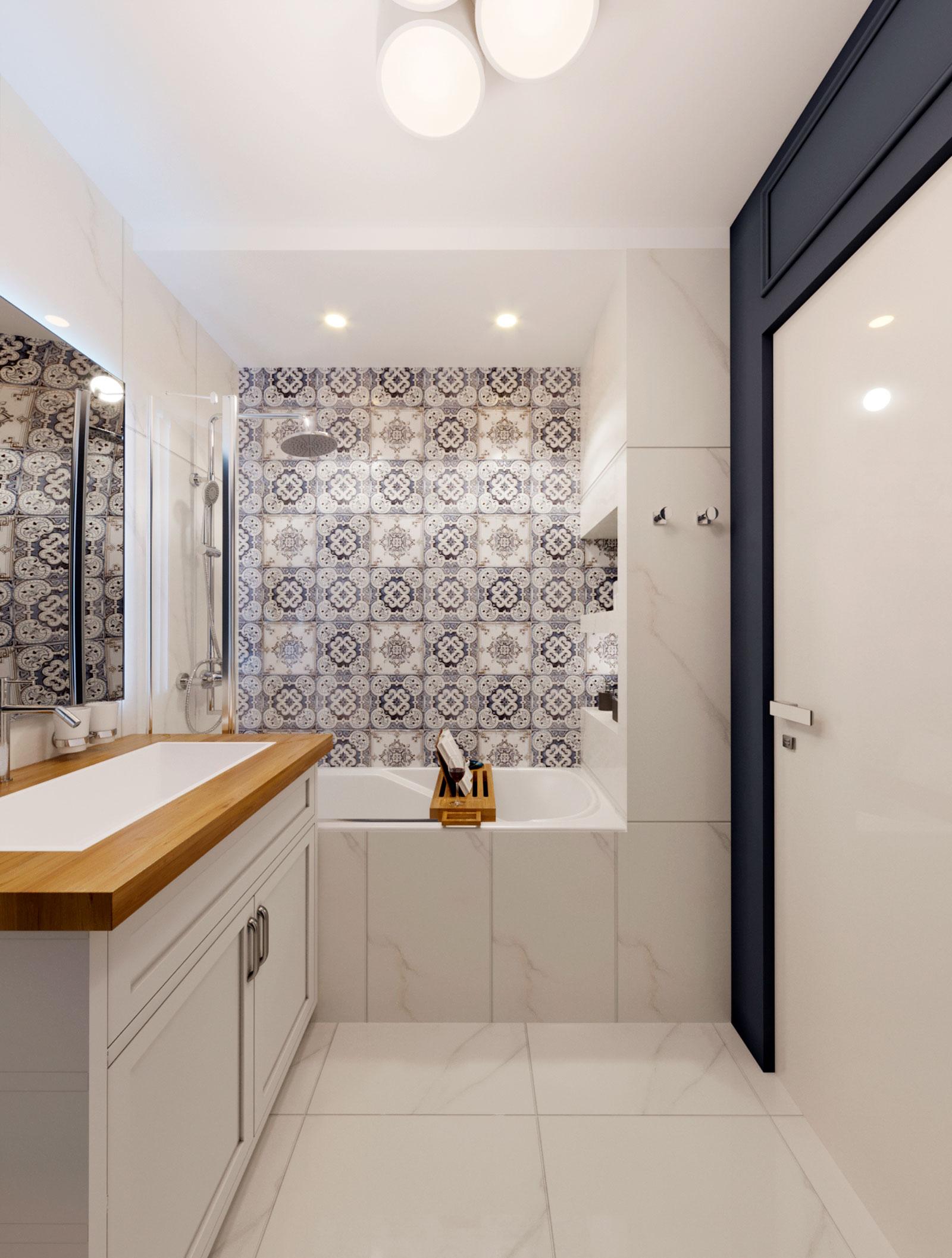 плитка с узором в дизайне ванной
