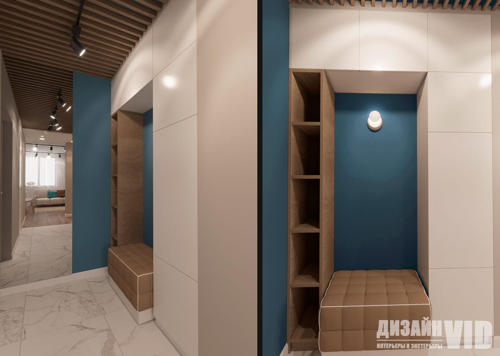 зеркало до потолка в современном коридоре