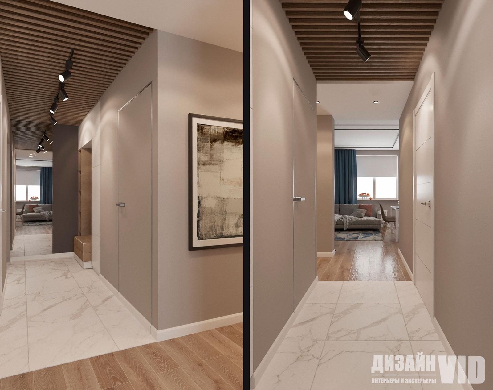 деревянная рейка на потолке коридора