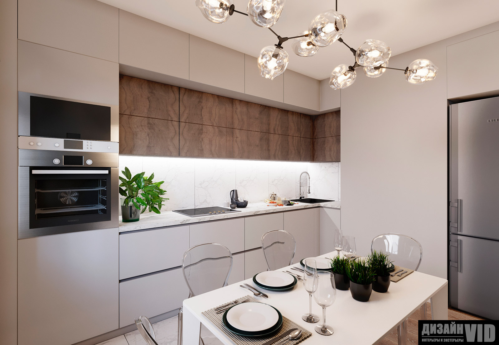 дизайн кухни-столовой в светлых тонах