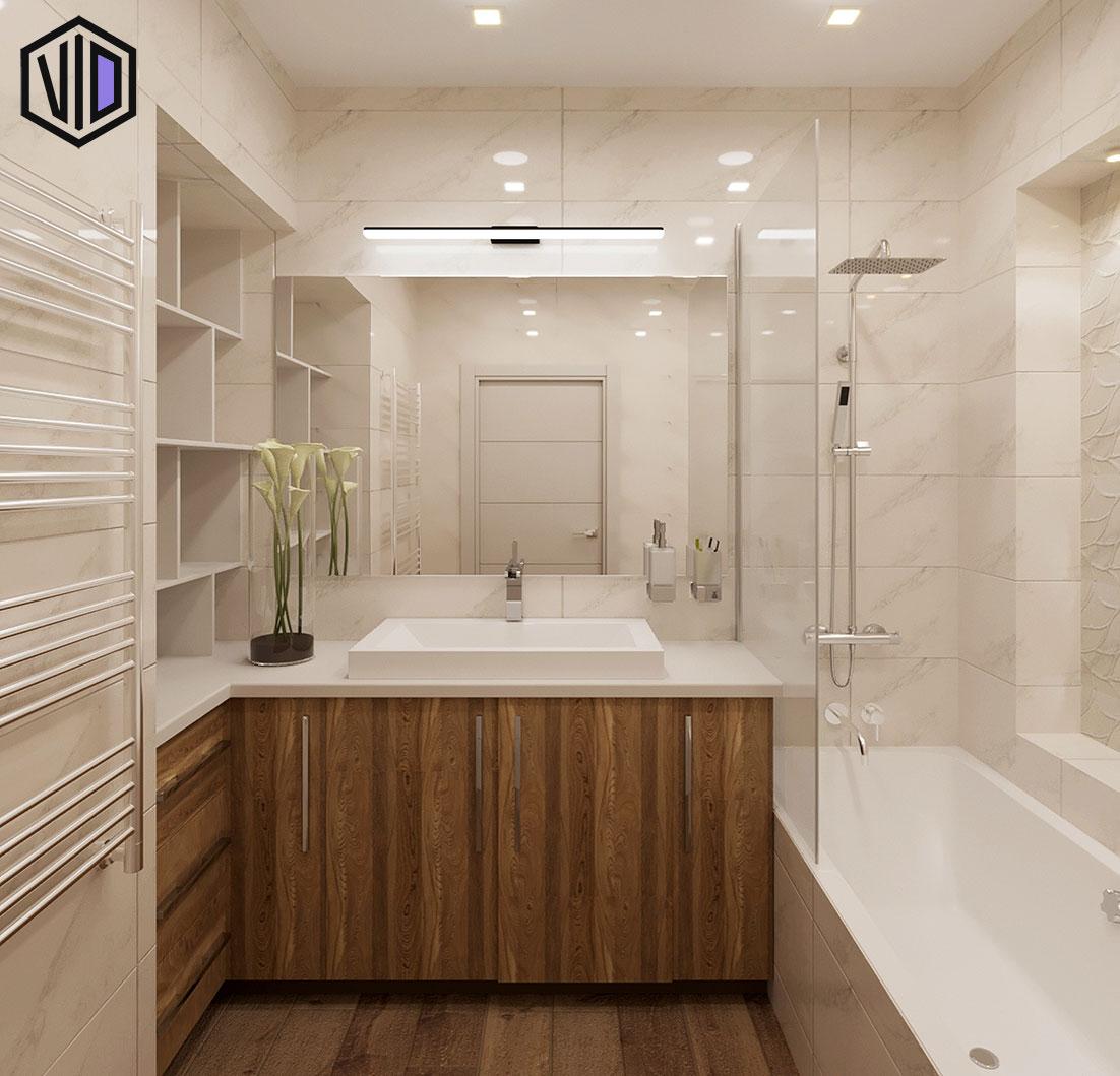 интерьер туалета с фактурной плиткой