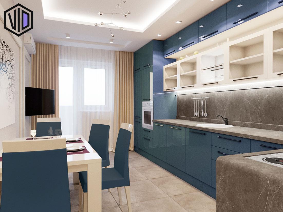 сочетание бежевого и синего в интерьере кухни