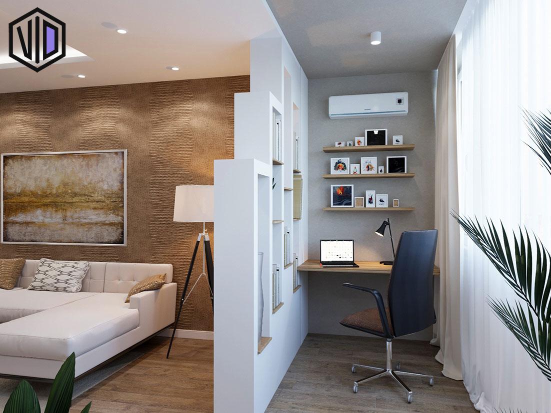 зона для работы в интерьере гостиной