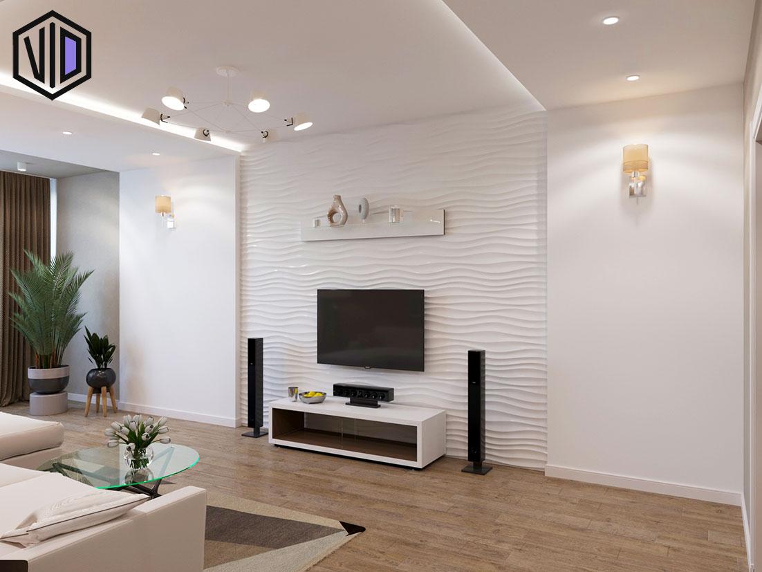 Дизайн интерьера гостиной с 3d панелью на стене