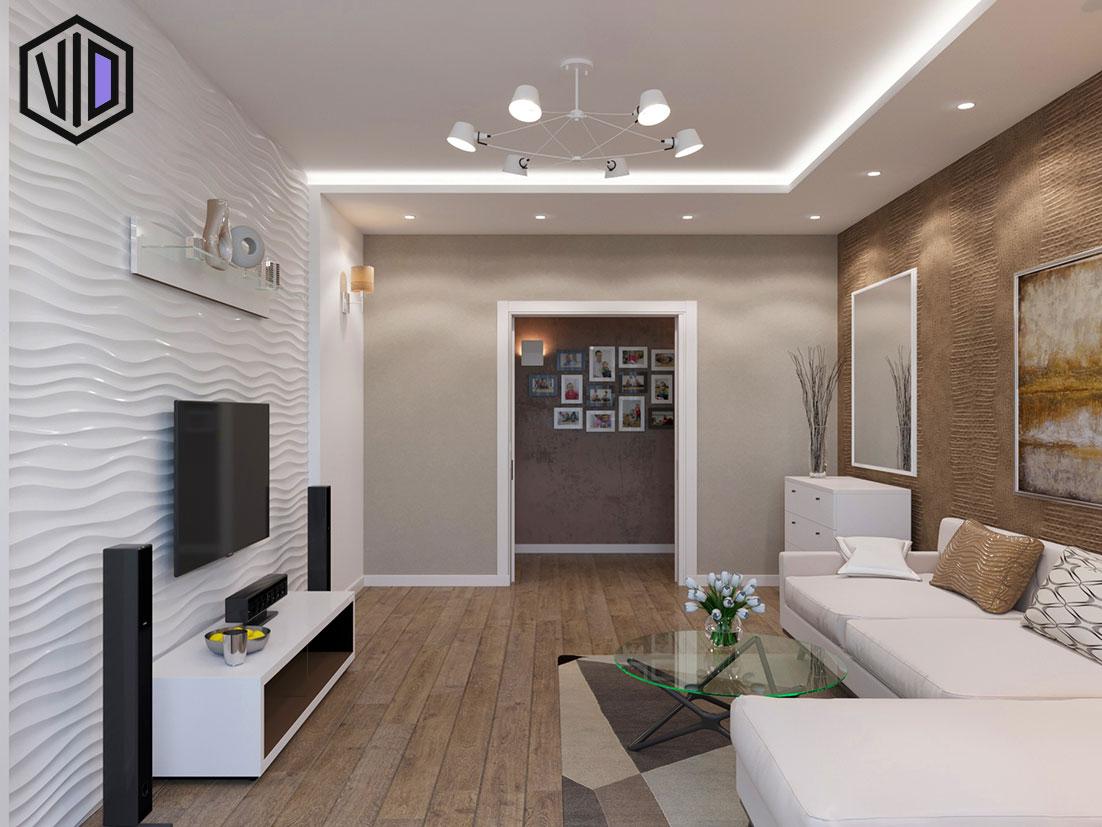Дизайн гостиной с обоями под кожу