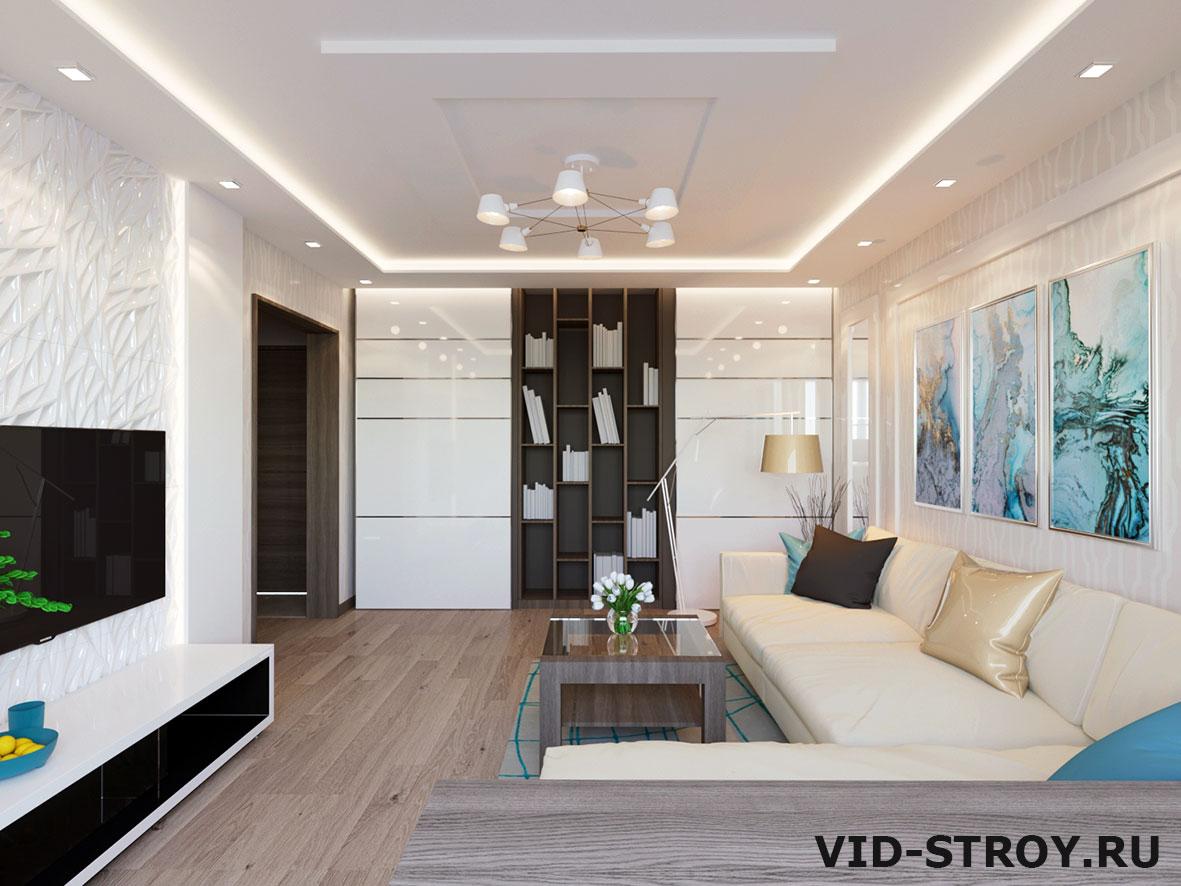 Дизайн потолка трехкомнатной квартиры