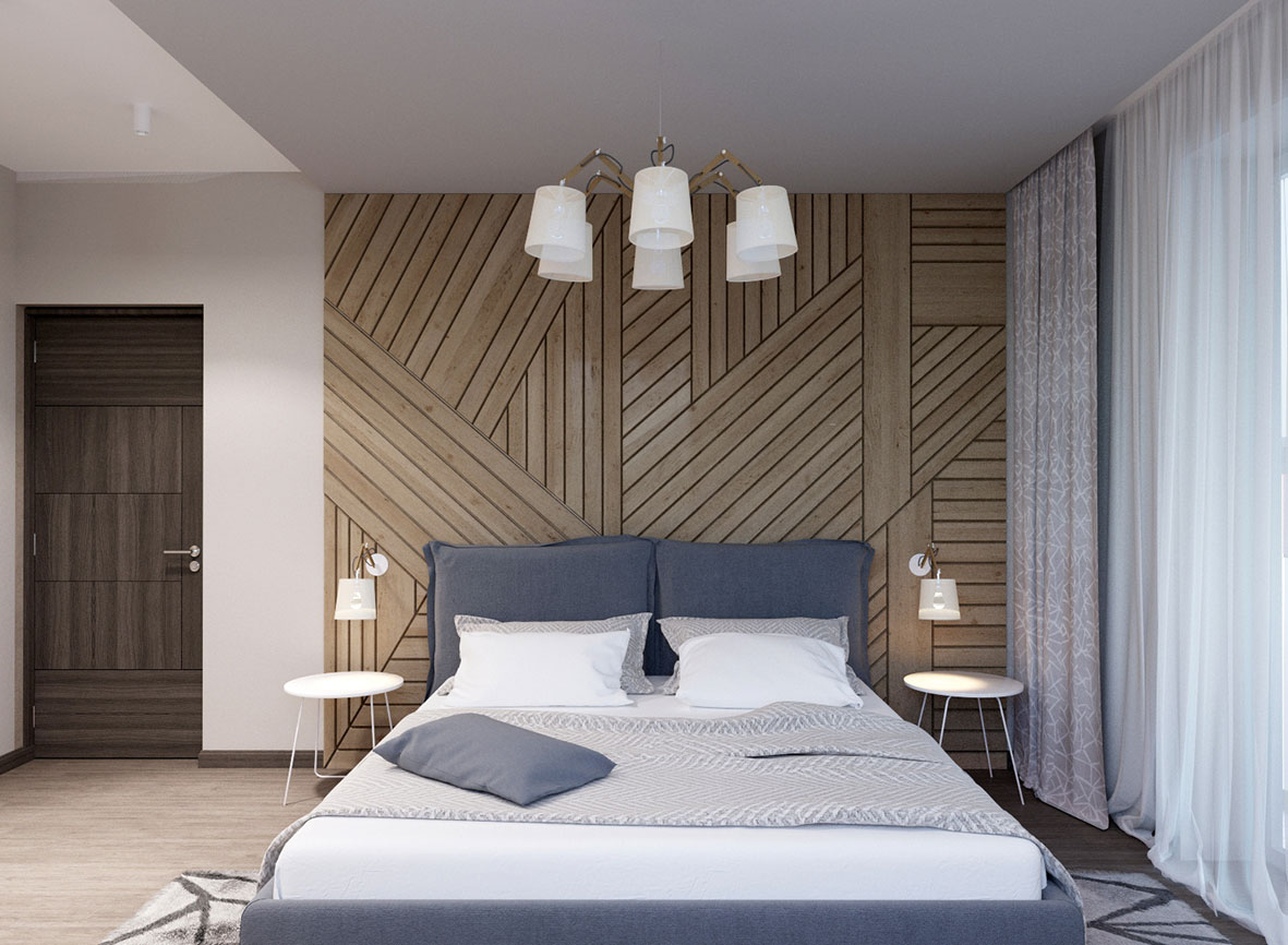 спальня с деревянной панелью