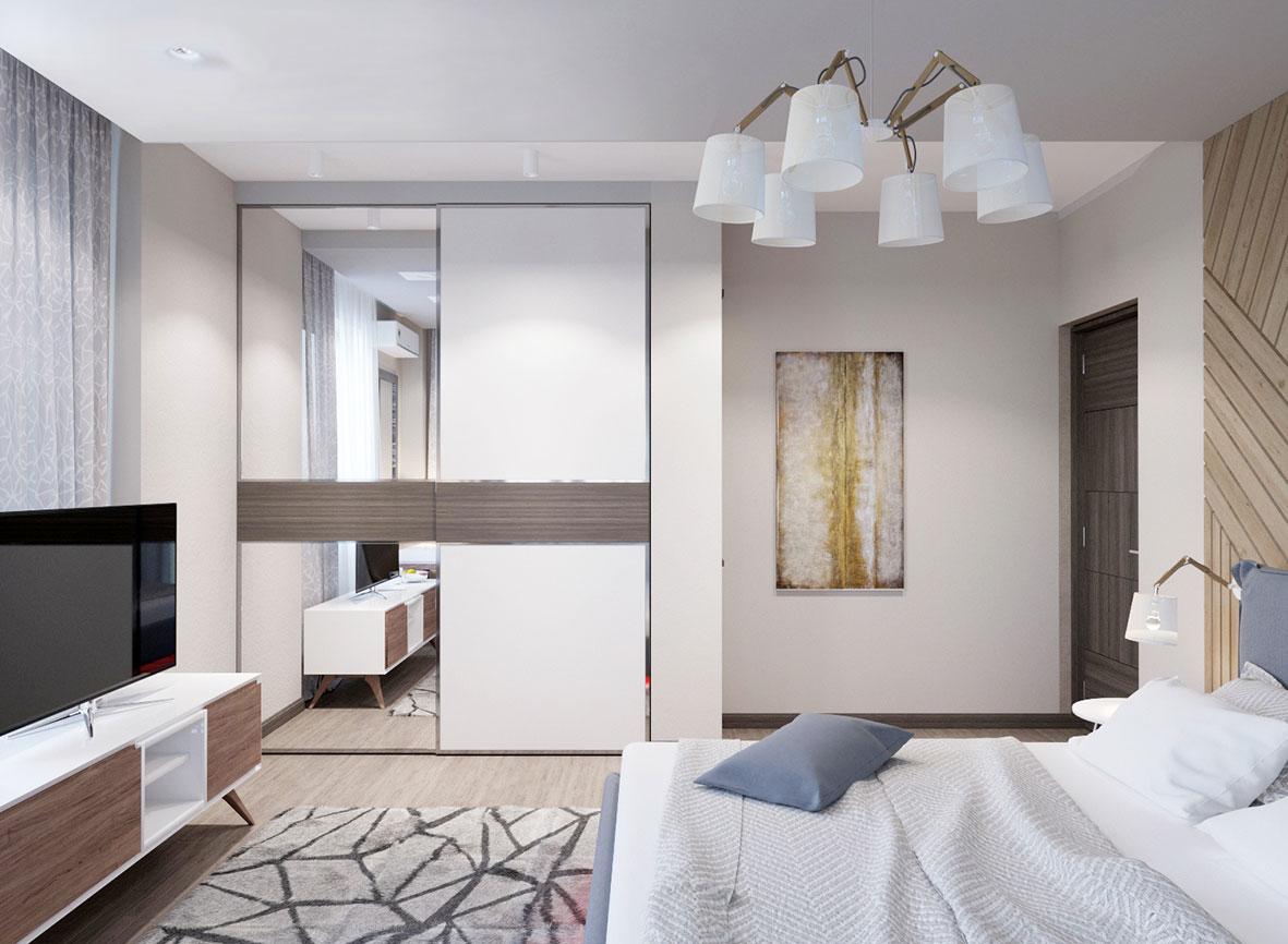 современная светлая спальня в квартире