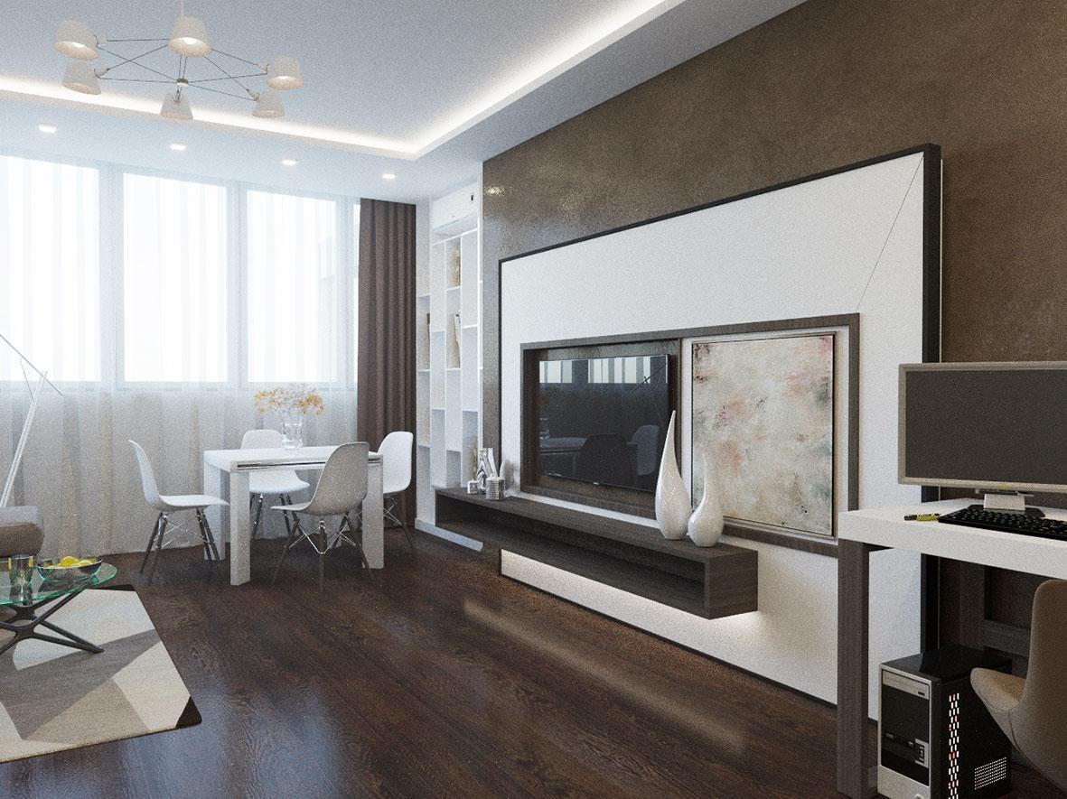 Зал квартиры в стиле минимализм