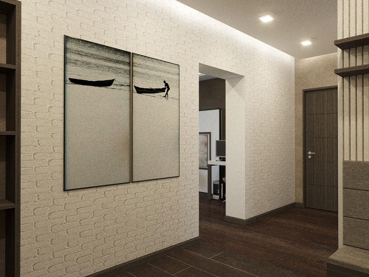 Стены из белого кирпича в коридоре