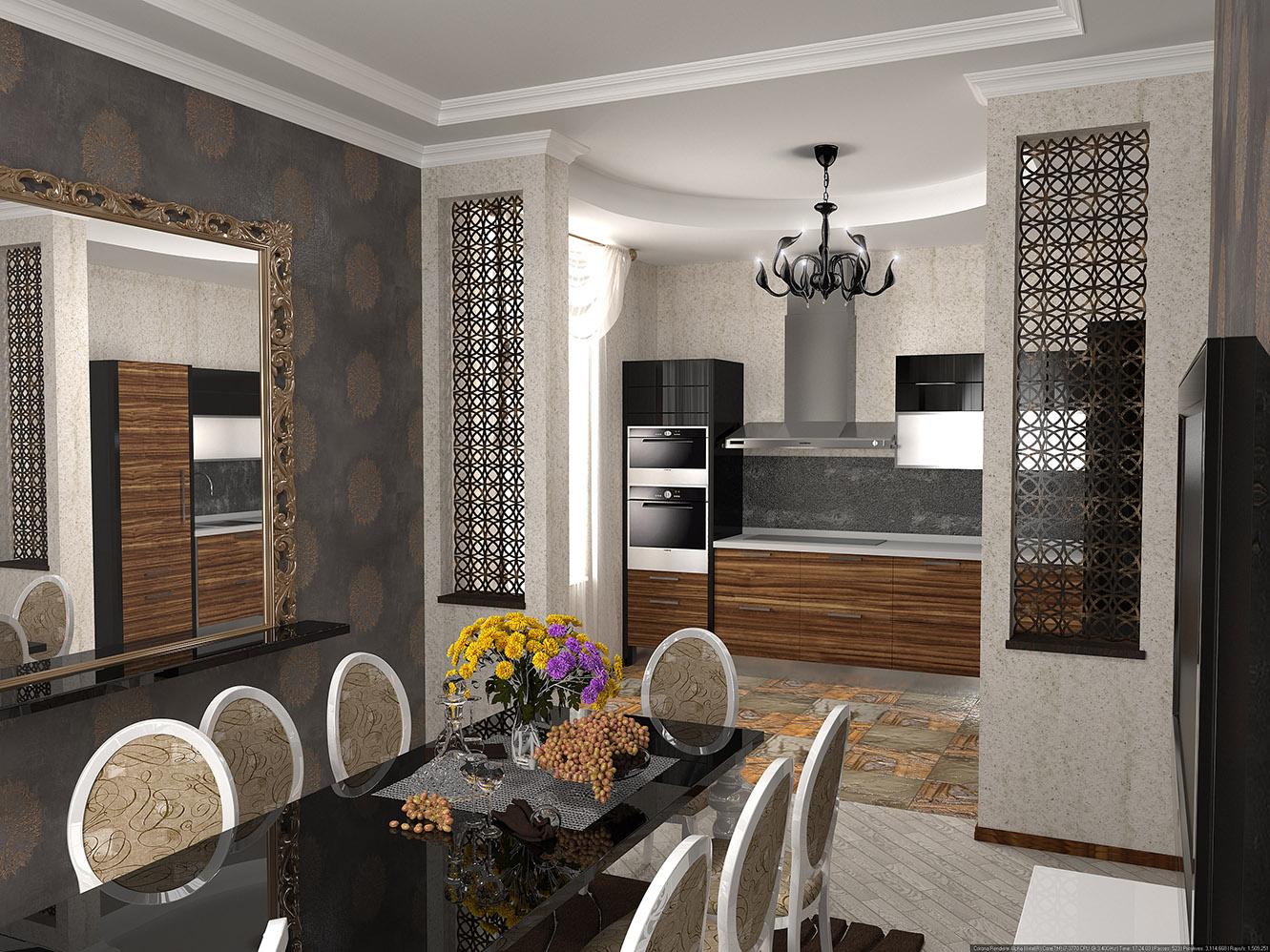 интерьер кухни с элементами стиля арт деко