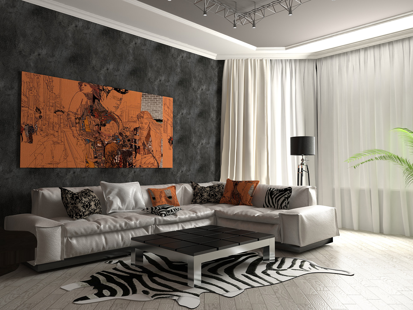 гостиная с элементами арт-деко
