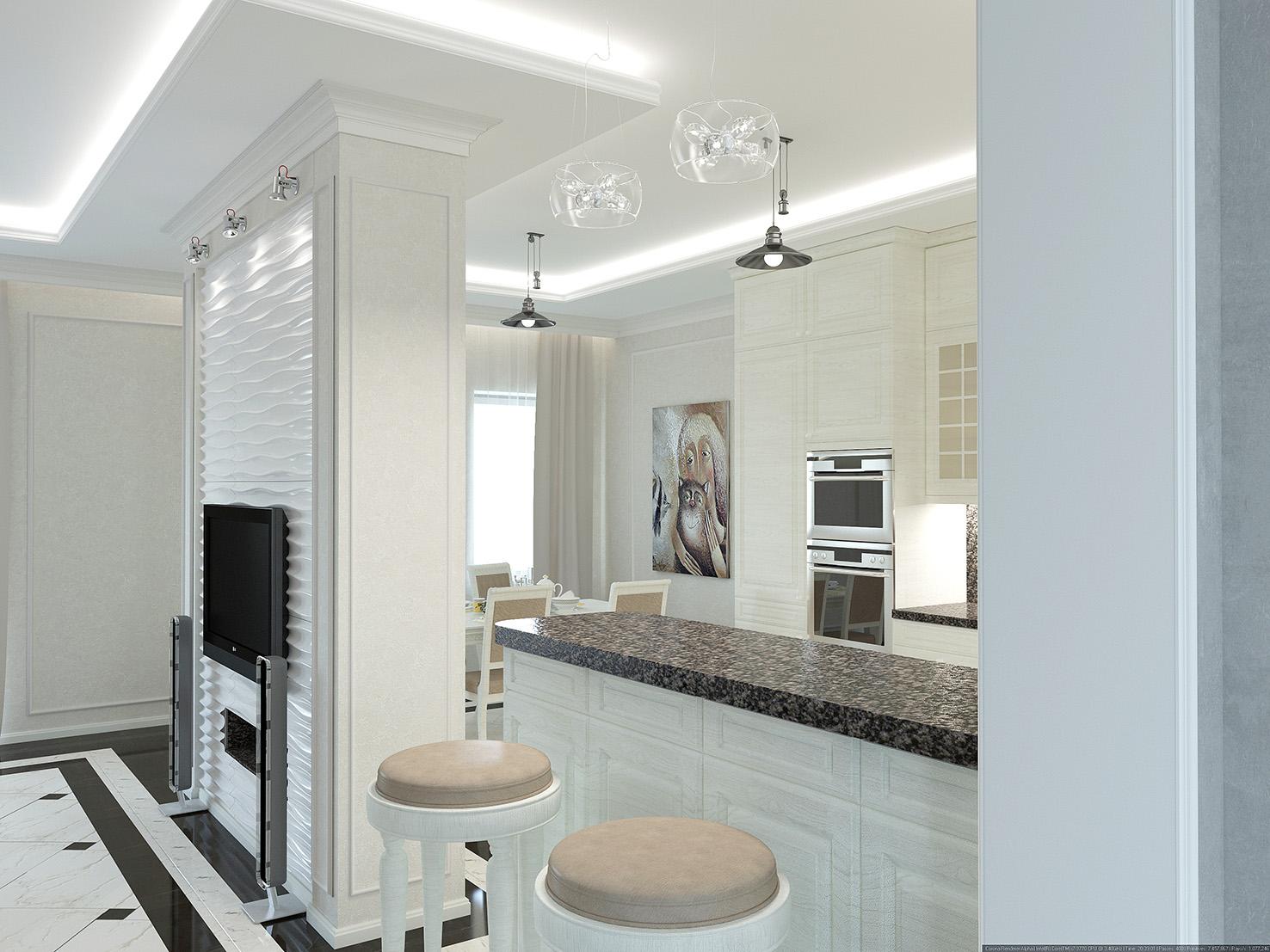 дизайн совмещенной кухни и гостиной в доме
