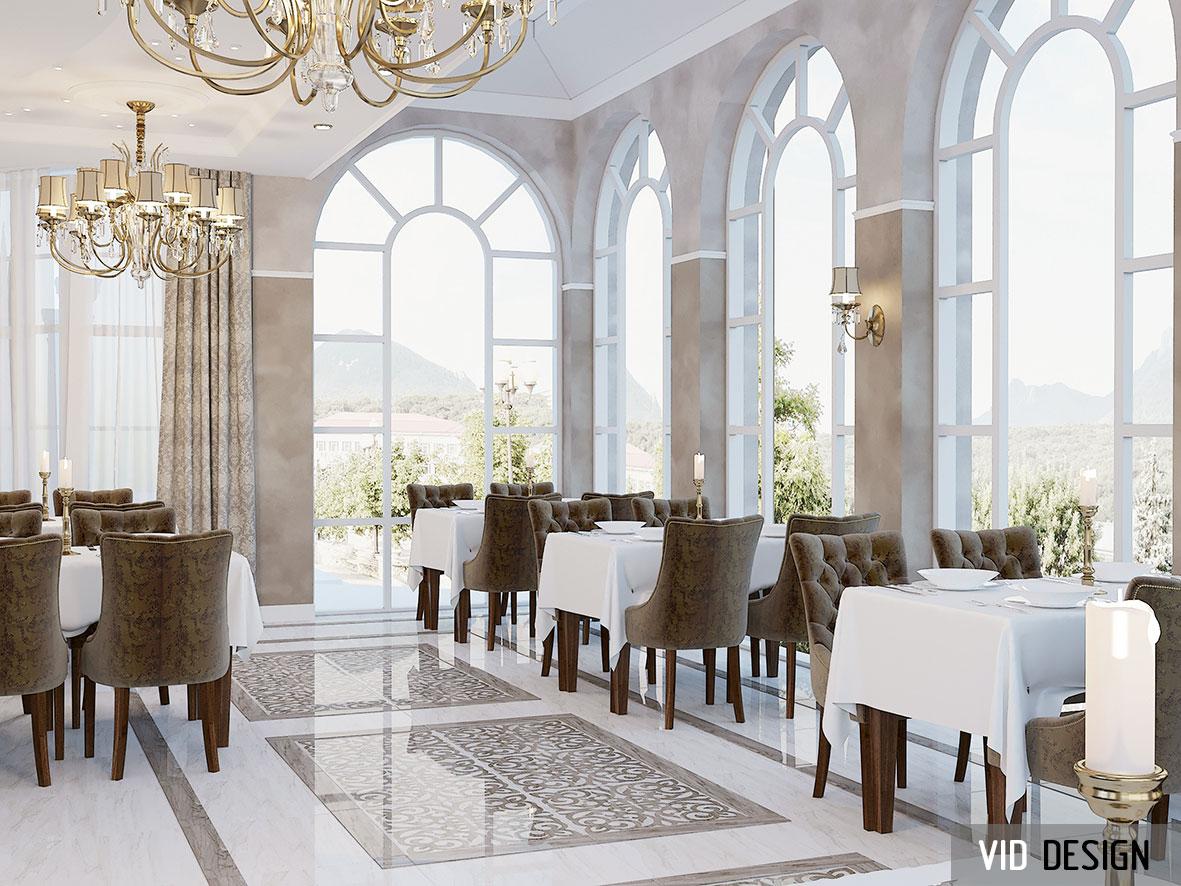 панорамные окна в интерьере ресторана