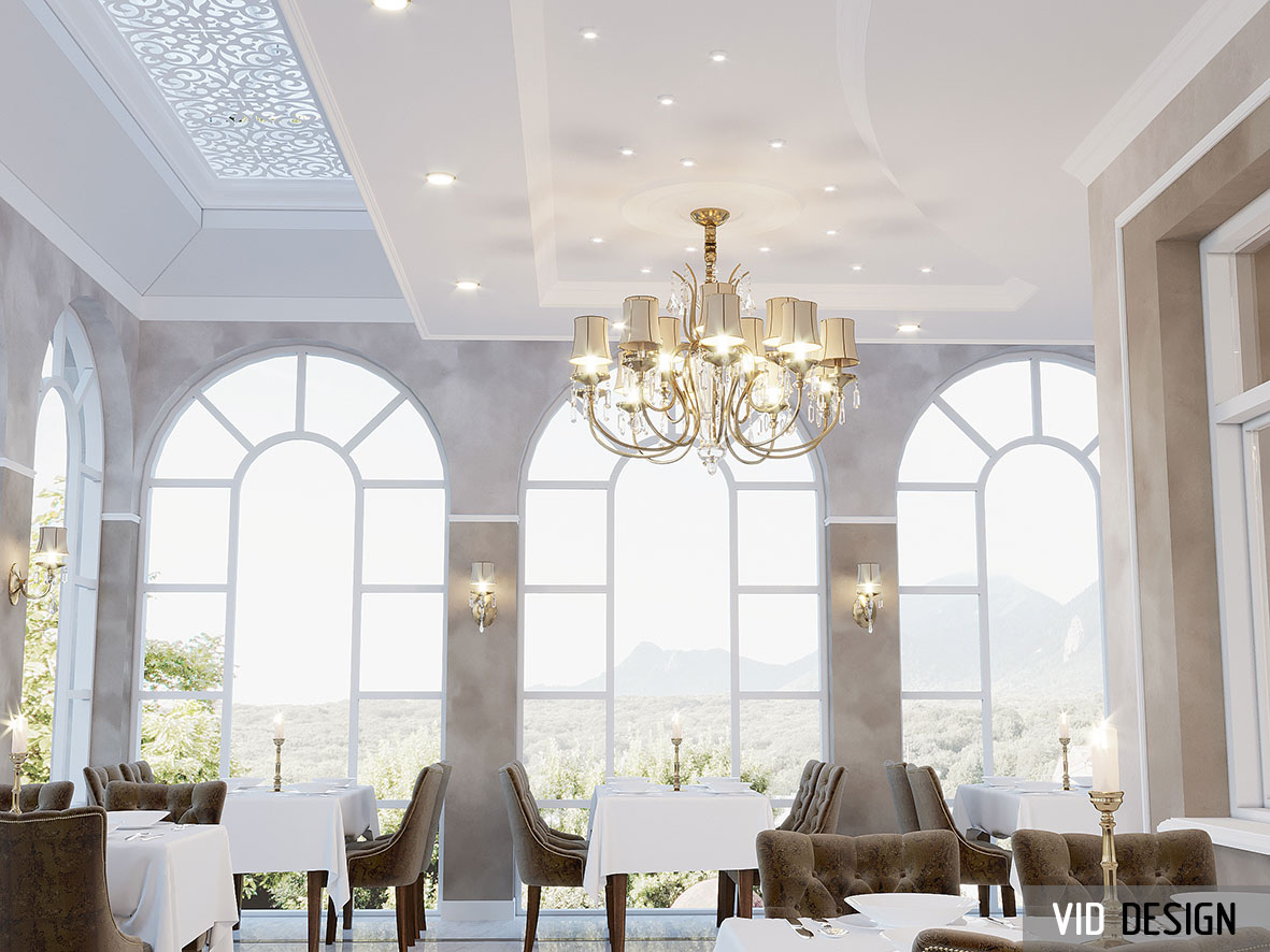 классический потолок ресторана